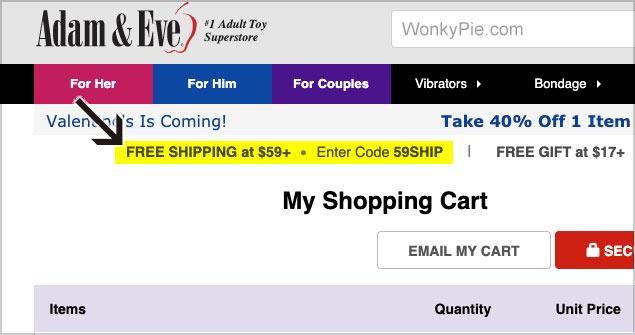 adam eve free shipping code