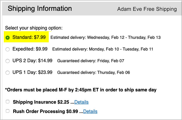 adam eve shipping cost