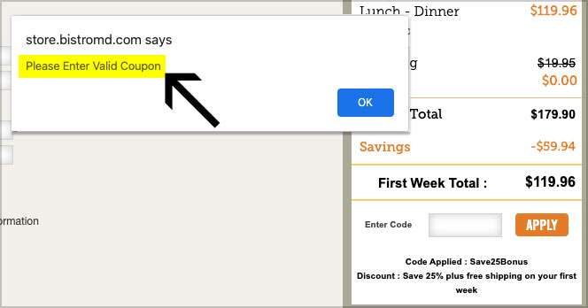 coupon code not working bistromd