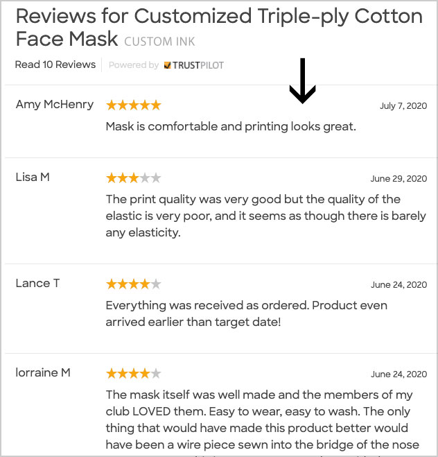 custom ink face mask customer reviews