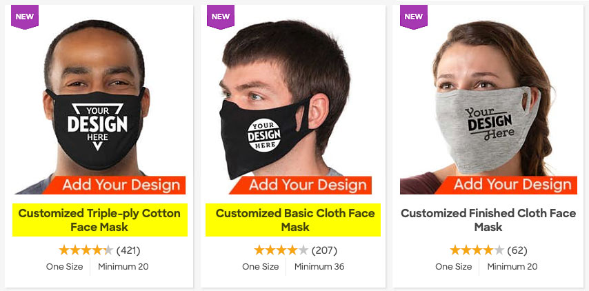 custom ink face mask options