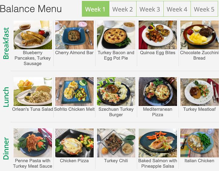 diet to go menu balance week 1