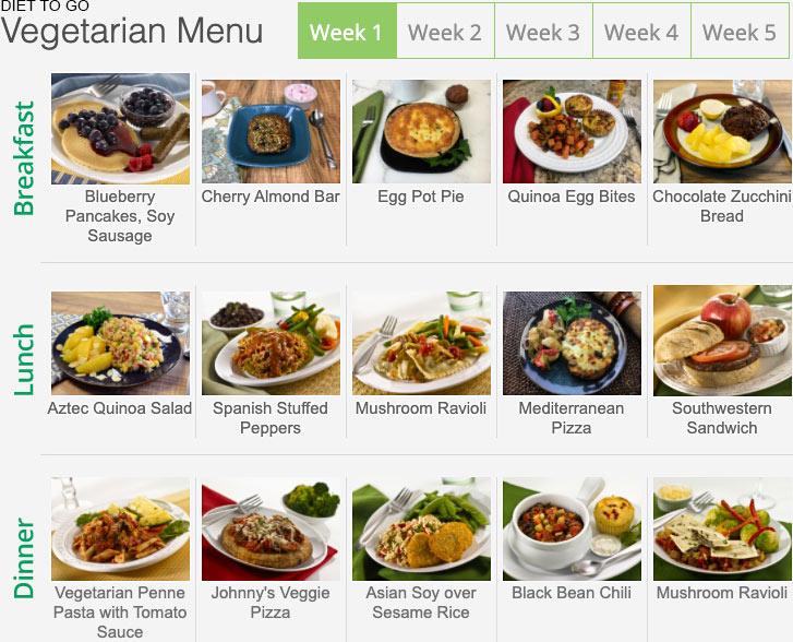 diet to go menu vegetarian