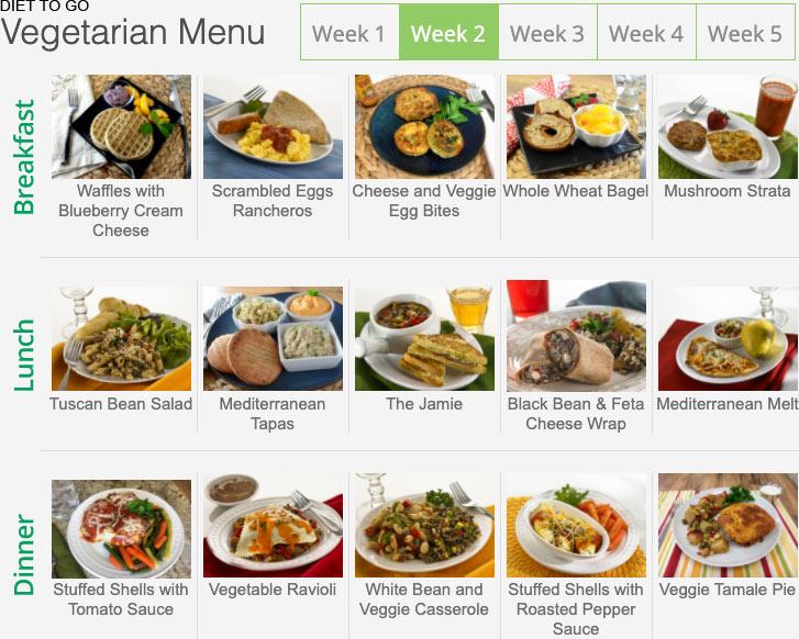 diet to go menu vegetarian week 2