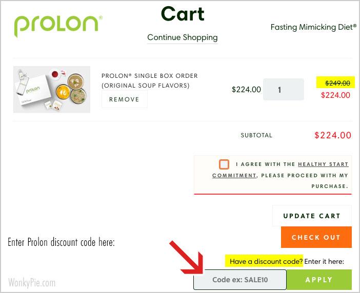 enter prolon discount code