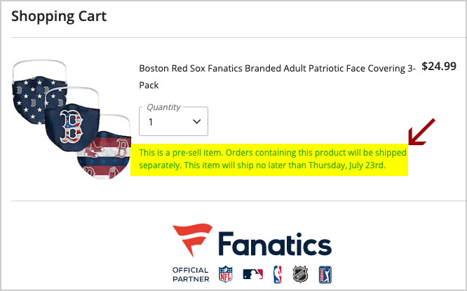 fanatics mask shipping