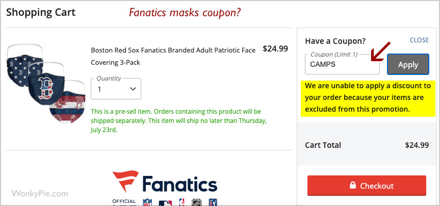 fanatics masks coupon