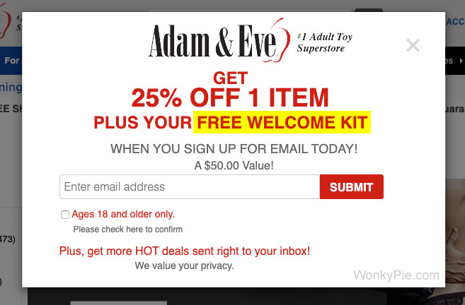 adam and eve 50 off one item free shipping