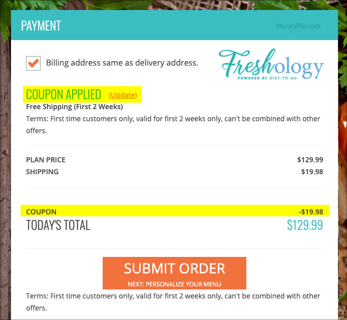 freshology coupon code applied