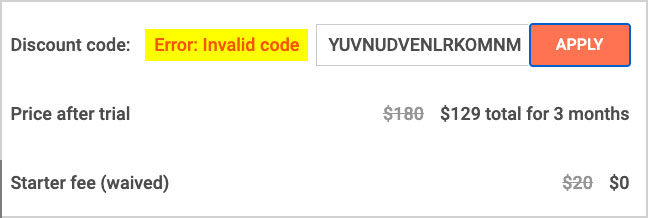 noom code invalid