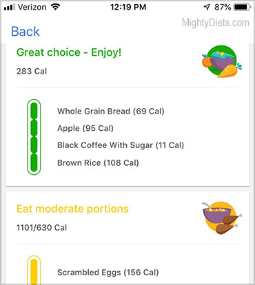 noom food color coding on app