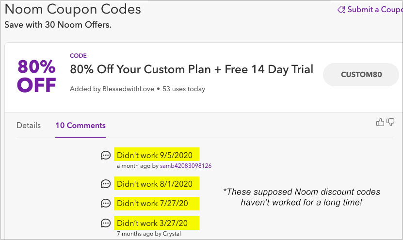 noom coupon codes not work