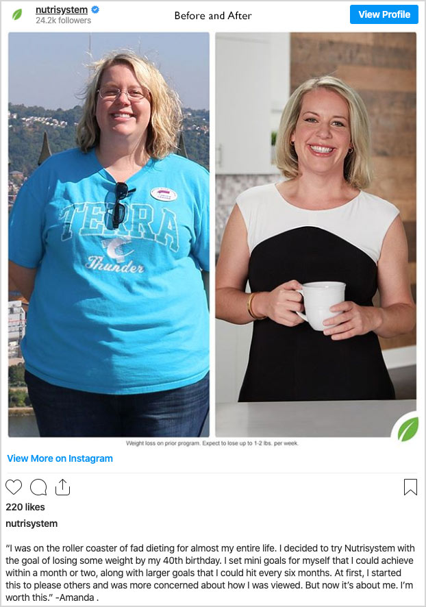 nutrisystem transformation weight loss