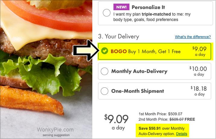 nutrisystem bogo delivery