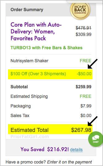 nutrisystem coupon 100