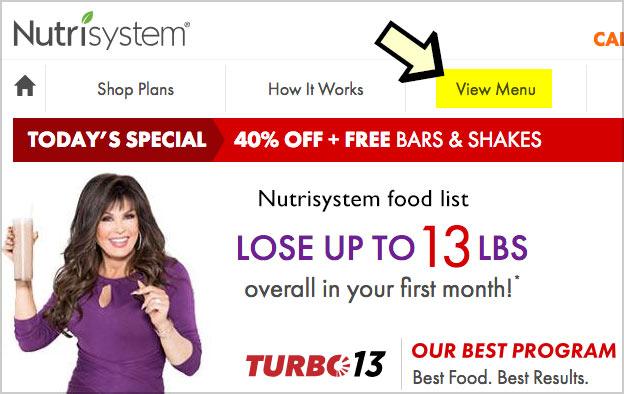 nutrisystem food list