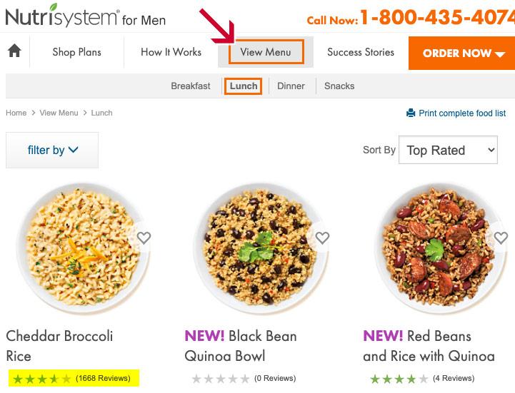 nutrisystem for men menu
