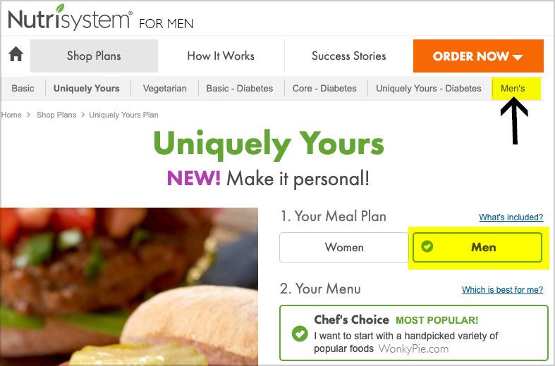 nutrisystem men plans