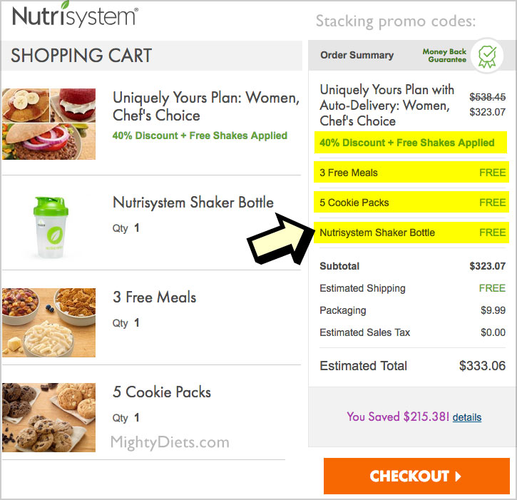 nutrisystem promo codes stack
