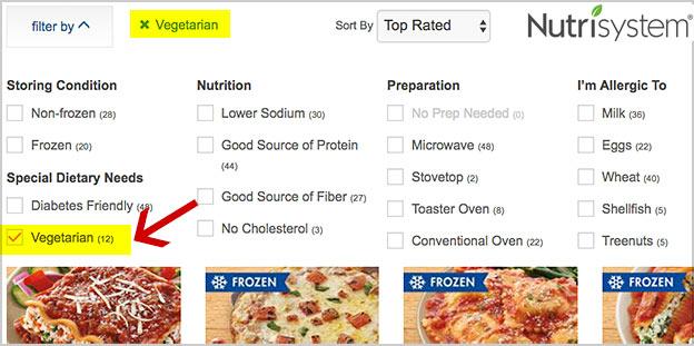 nutrisystem vegetarian menu options