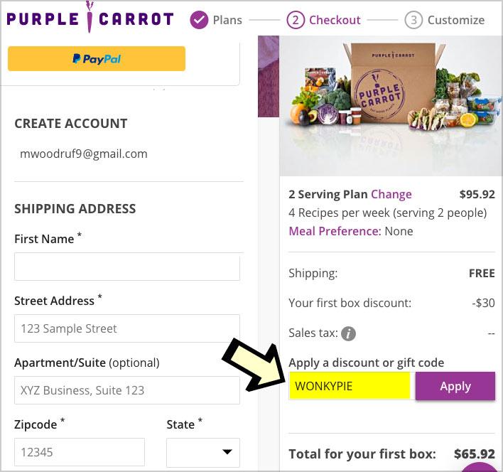 enter purple carrot discount code