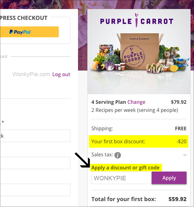 purple carrot apply discount gift code
