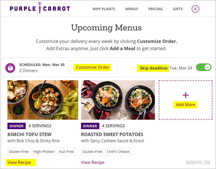purple carrot menus