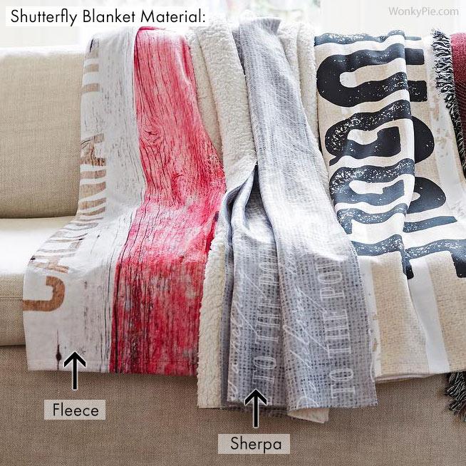 shutterfly blanket materials
