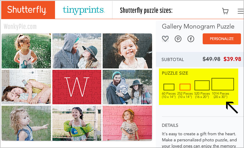 shutterfly puzzle sizes