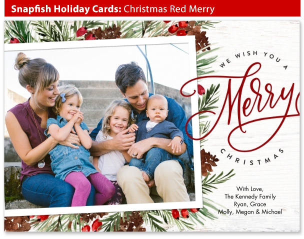 snapfish holiday cards christmas red merry