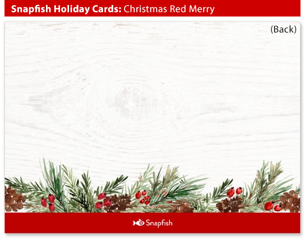 snapfish holiday cards christmas red merry back