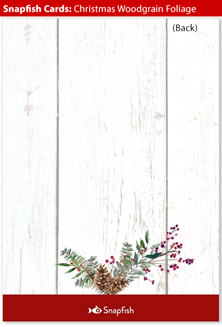 snapfish holiday cards christmas woodgrain back
