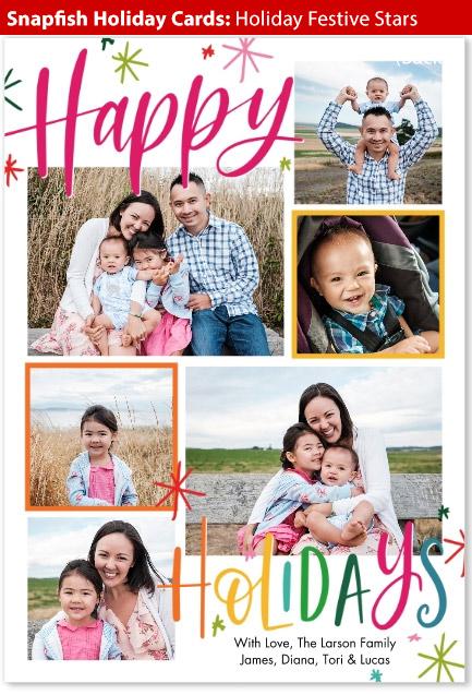 snapfish holiday cards festive stars