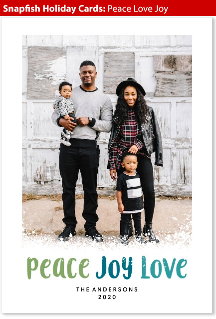 snapfish holiday cards peace love joy