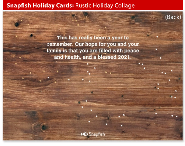 snapfish holiday cards rustic collage back