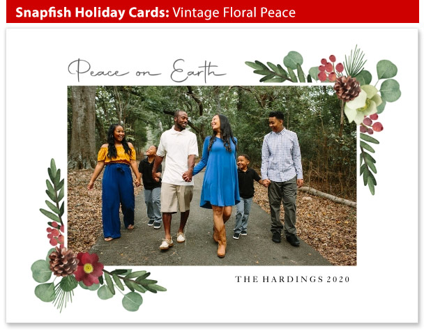 snapfish holiday cards vintage floral peace