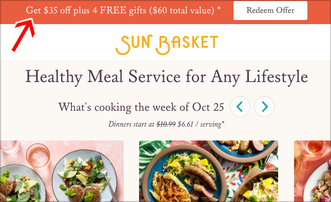 sun basket promotion
