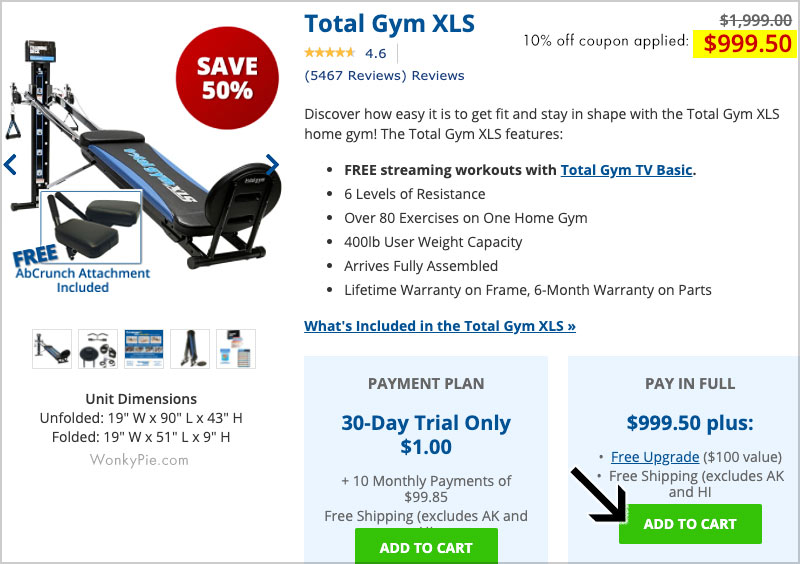 total gym xls coupon 10