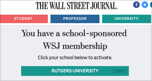 wall street journal free college
