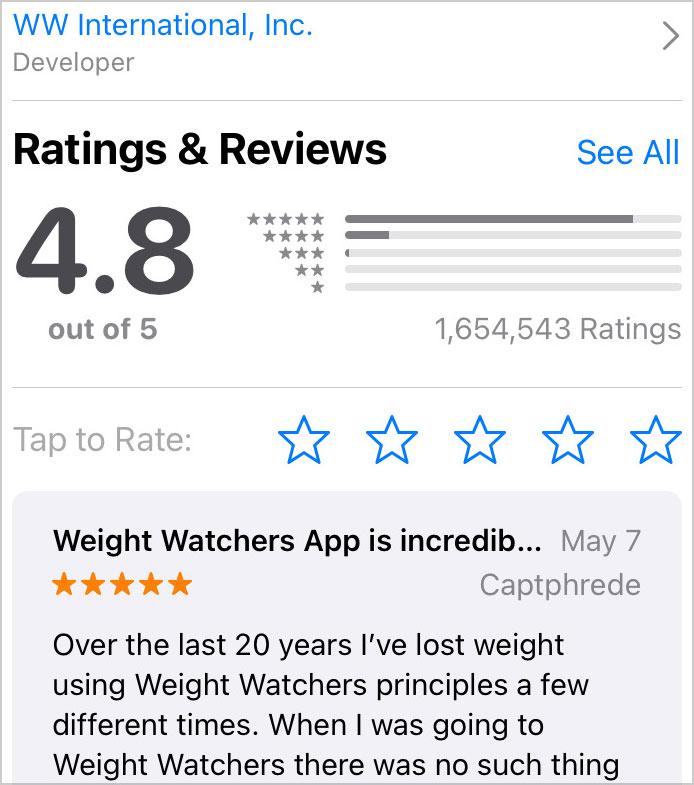 weight watchers app reviews