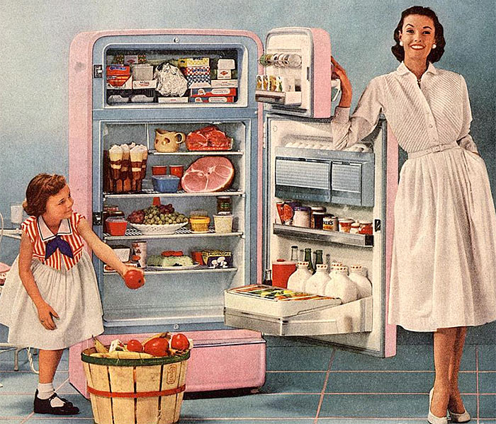 woman recipes fridge vintage