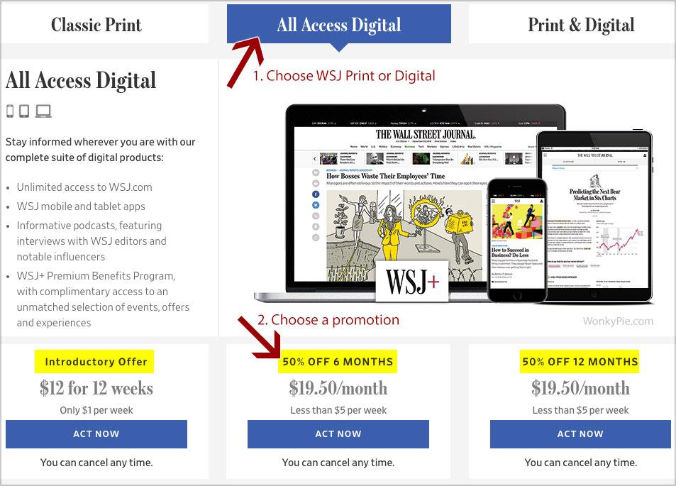 wsj digital print cost