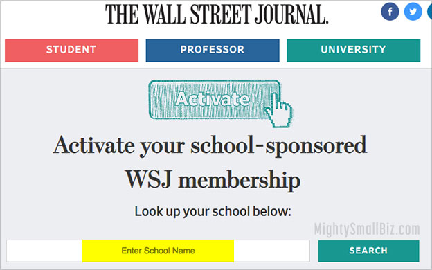 wsj free subscription student