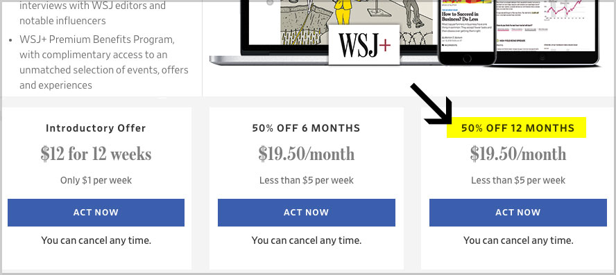 wsj subscription deal 50 off