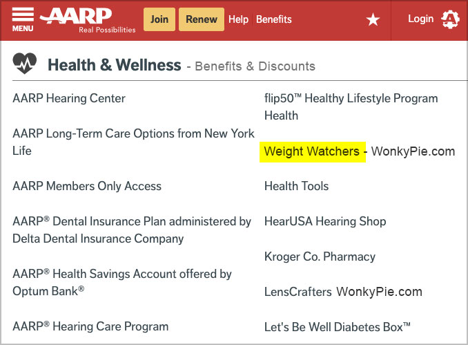 aarp weight watchers