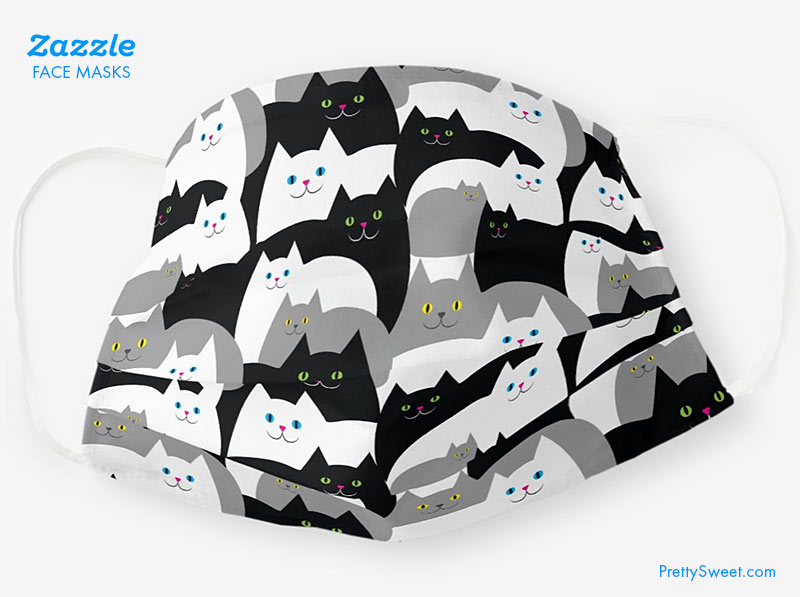 zazzle face mask cats design