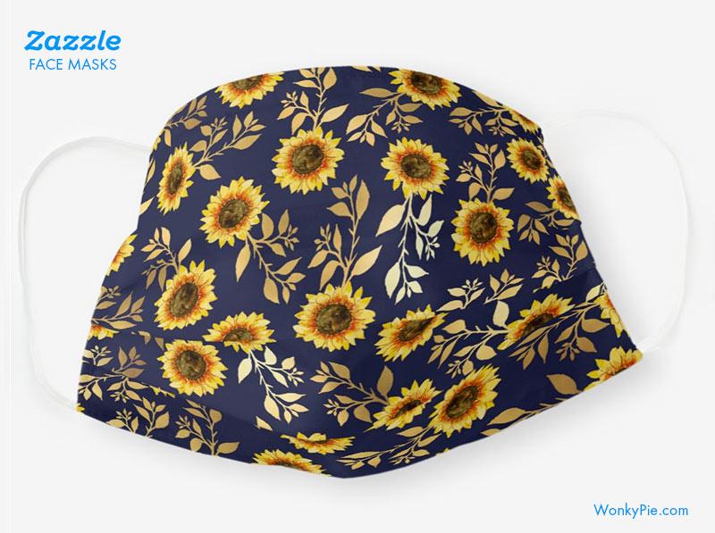 zazzle face mask sunflowers design