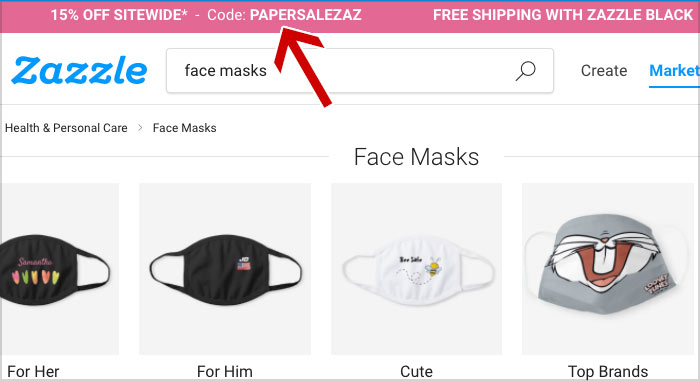 zazzle mask coupon