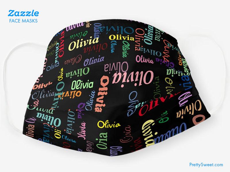 zazzle mask custom name