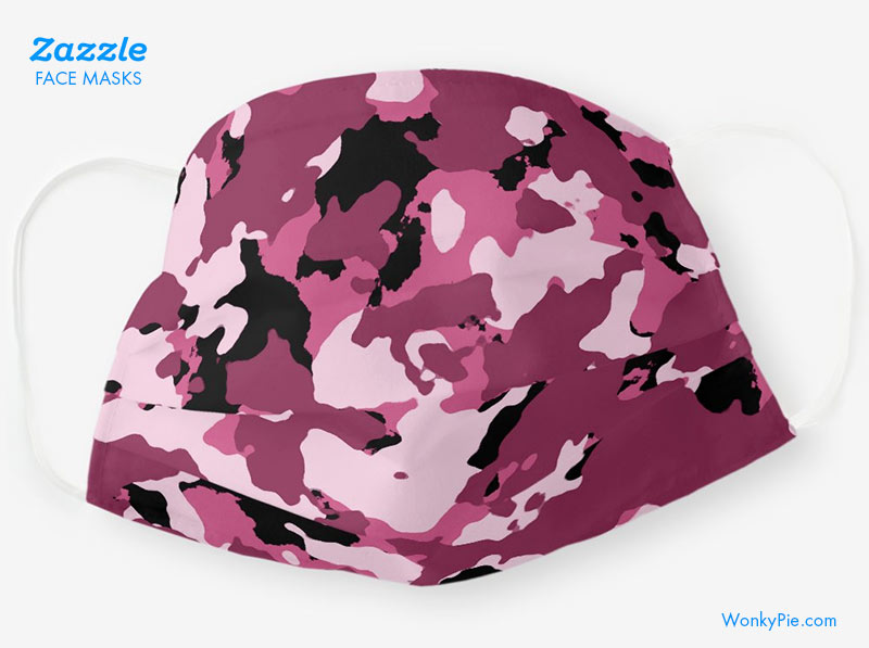 face mask pink camo design